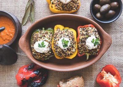 Pimentones rellenos con Quinoa Tricolor